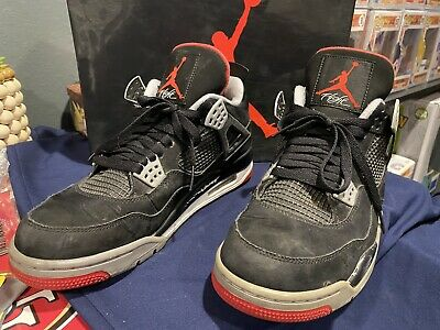 Nike Air Jordan 4 Retro OG Bred IV Black Red Cement Shoes Men's Size 10