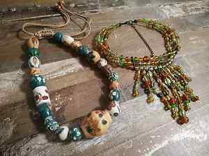 Gorgeous green tone, glass and ceramic necklace Maryland Newcastle Area Preview