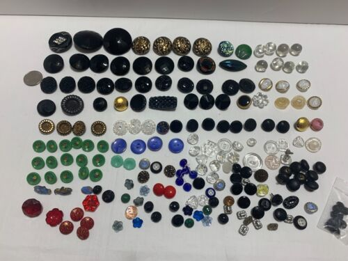 Lot of 160+ Vintage Glass Colorful Buttons.Nice