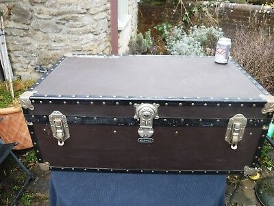 "Vintage British MOSSMAN 36"" Steamer, Boarding School, Luggage Trunk"