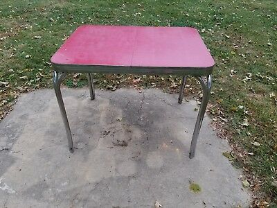 vintage formica red kitchen table mid century antique,1950s Maysville Kentucky
