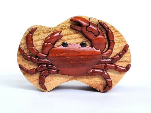 Crab  Handcrafted Carved Intarsia Wood Puzzle Box Jewelry Trinket Box