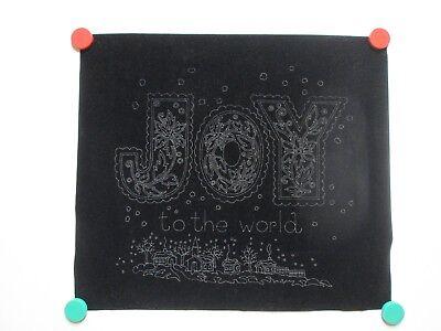 Vintage Tri Chem Picture to Paint Felt USA Poster Joy To The World Black Velvet