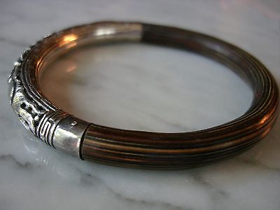 Antique Chinese Bamboo Rattan Sterling Silver Repousse Bangle Bracelet