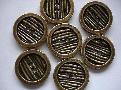 5 Knöpfe Metall altgoldfarben 15mm 2-Loch W140.2