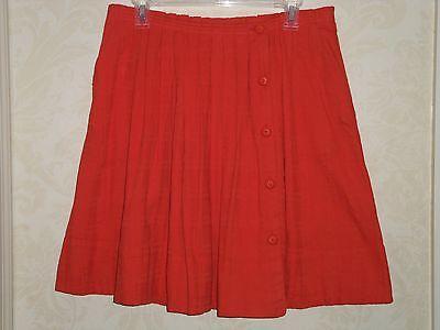 NEW ANTHROPOLOGIE Darlene Dobby Skirt Orange Pleated Knee-Length Skirt Sz 12