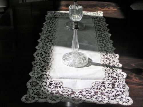 """Antique Hand Made Bobbin Lace Table Runner Dresser Scarf 53 1/2"""" by 20"""""""