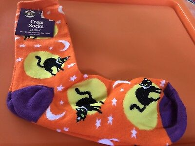 Halloween Crew Socks Cats Moon And Stars Sock Size 9-11 - Cats And Halloween