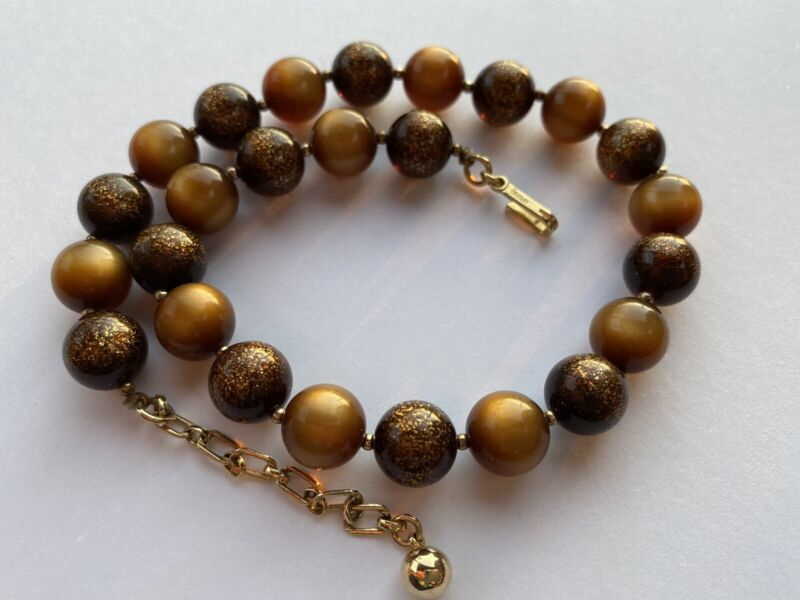 Signed Trifari Brown Moonglow Lucite Sparkle Beads Choker Necklace