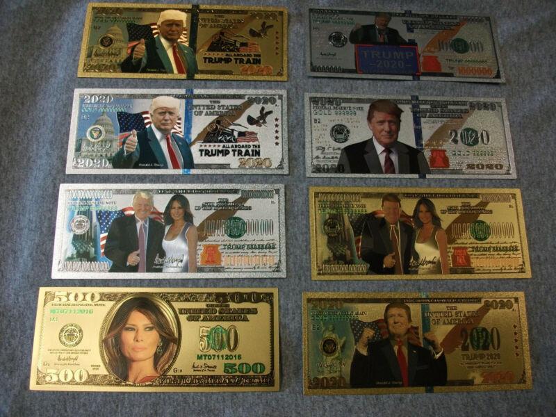 8PC Donald Trump/Melania Gold/Silver Dollar Bill Banknote All Different