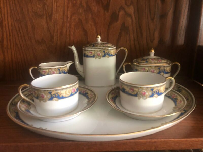 Antique Late 19th-Century Limoges Tea Set with Tray
