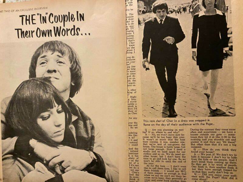 Cher, Sonny Bono, Two Page Vintage Clipping
