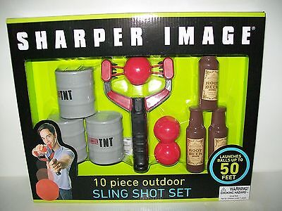Outdoor Sling Shot Game Set 10 pcs Launches Up To 50 ft Sharper Image New