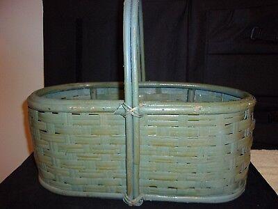Decorative Mid Century Decor Collectible Basket - Oblong - Blue/Green Color