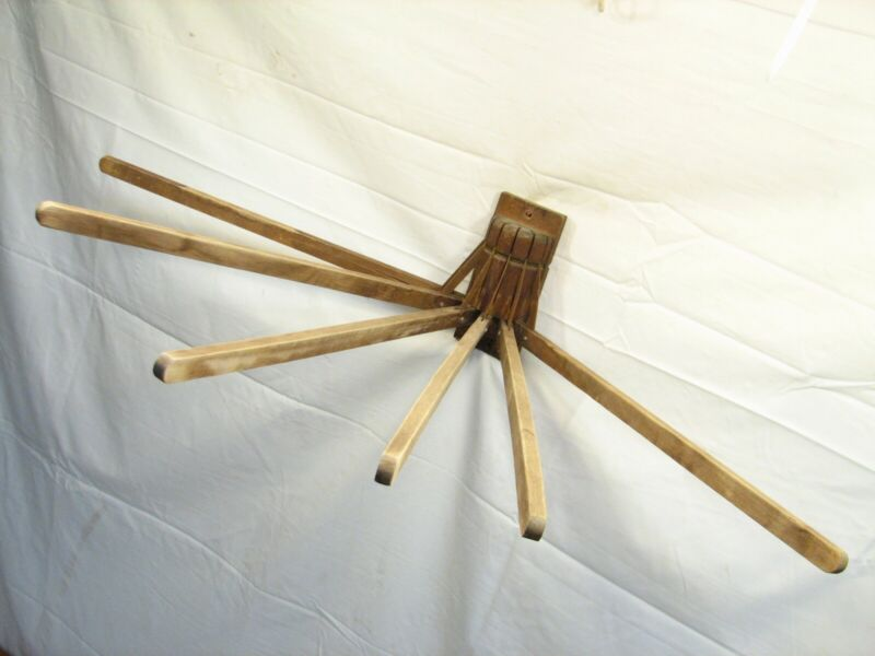 Antique Wooden Spindle Wall Clothes Drying Rack Laundry Tool Compact Unique