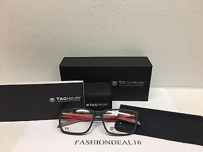New Authentic Tag Heuer Black/Red/Gray Frame TH554 004 Eyeglasses