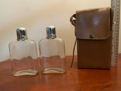 Vintage Glass Hip Flasks in Genuine Leather Case