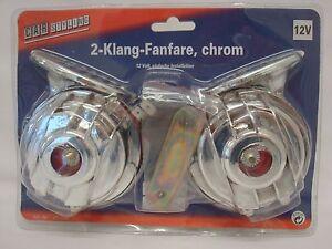 Elektromagnetische 2-Klang-Fanfare 12V verchromt - Hupe Horn PKW Auto chrom