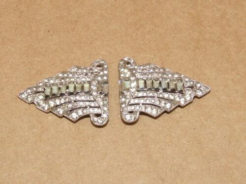 VTG Art Deco Rhinestone & Baguette Glass Dress Clip Brooch Set Patent # 1852186