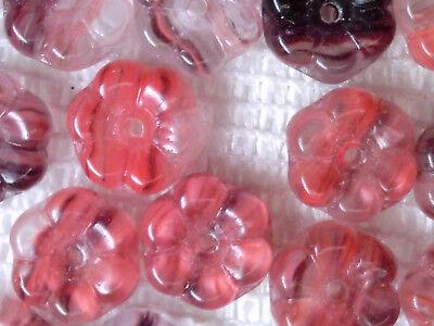 VTG 100 RED GIVRE 3D FLOWER PRESSED GLASS BEADS #060711j