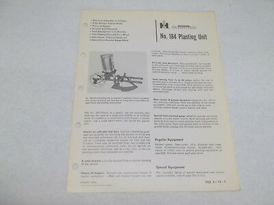 International No. 184 Planting Unit Sales Reference Brochure