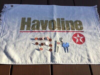 Texaco Vintage Golf Memorabilia: Havoline Towel, 11 Markers, 2 Divit Repair Tool