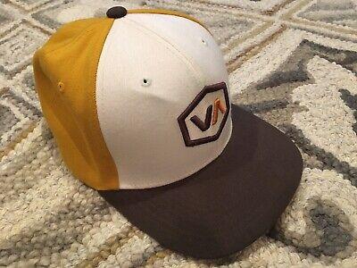 RVCA Flexfit Hat Sz L/XL White Yellow Brown