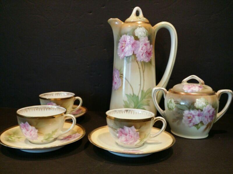 RS Germany Tea/Coffee Pot, Cups Sugar Peonies Hydrangea