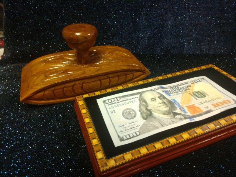 Money Maker Solid Wood Inlaid Blotter Resembles Antique Collectors Item Trick