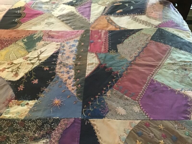 Spectacular Antique Handmade Crazy Quilt Top Signed and Dated