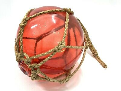 """YELLOW REPRODUCTION BLOWN GLASS FLOAT FISHING BUOY BALL WITH FISHNET 3/"""" F-7"""