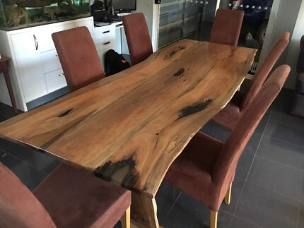Solid Marri Dining Table And 6 Macro Suede Chairs