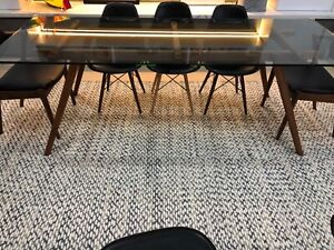 8 seater glass top dining table