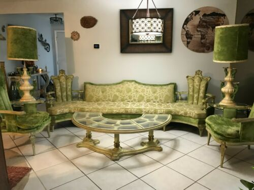Hollywood Regency / French Provincial Green Full Parlor Living Room Set MCM