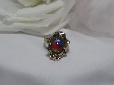 Vintage Gold Whiting & Davis Dome Victorian Red Blue Crest Ring