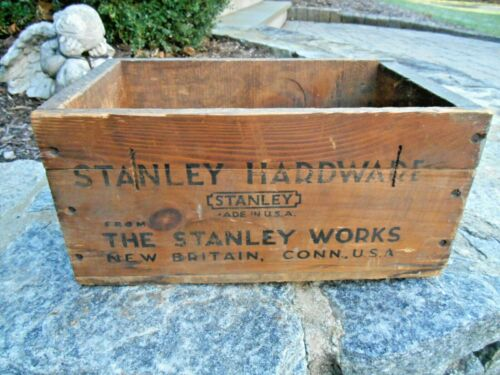 VINTAGE STANLEY HARDWARE, THE STANLEY WORKS, WOOD SHIPPING CRATE, BOX