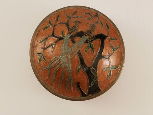 Vintage Mid-Century Copper Enamel Covered Trinket Dish Long Tailed Pheasants