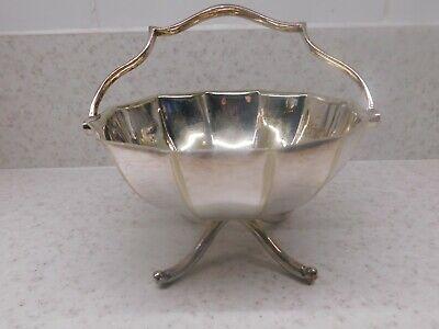 silver bowl bon bon dish hallmarked sheffield 12cm dia & 6cm tall exl handle