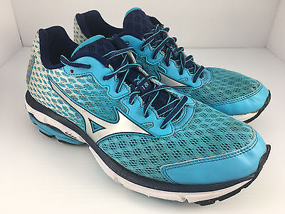 Mizuno Wave Rider 18 Women US 9 White + Blue + Silver Athletic Running Shoes
