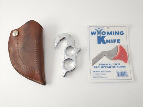 Vintage WK WYOMING KNIFE Hunting Skinning Gutting Hook Knife + Blade, Sheath NEW