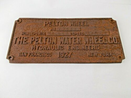 ANTIQUE SIGN PLAQUE PELTON WATER WHEEL CO HYDRAULIC ENGINEER MINING Nevada City