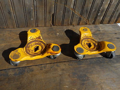 2 Vintage Tri Wheel Dolly Casters Furniture Appliance Dollies industrial used (Industrial Appliance Dolly)