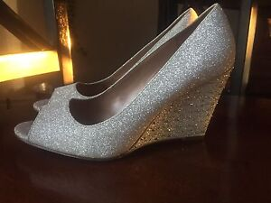 Silver Peep-Toe Wedge