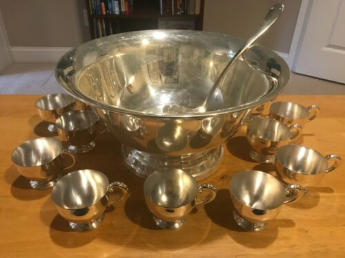 CLEAN Vintage Towle Silverplate Punch Bowl Set – Ladle With 11 Cups
