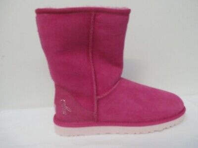 UGG Women's Classic Short Boot with Crystal Ribbon PINK Size 38 (7)](Ugg Boots With Ribbons)