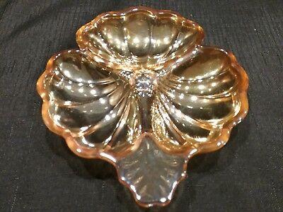 Vintage Marigold Carnival Glass Clover Shape Dish by Jeannette Glass~ FREE S/H Vintage Marigold Carnival Glass