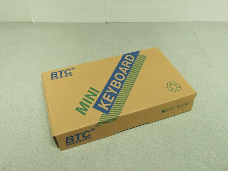 New In Box BTC 5100C DIN 5 Pin Mini Compact Keyboard AT Din5 Connector
