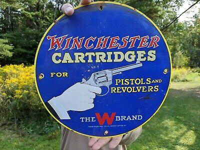 OLD 1957 WINCHESTER CARTRIDGES PORCELAIN ENAMEL SIGN REMINGTON PISTOL REVOLVERS