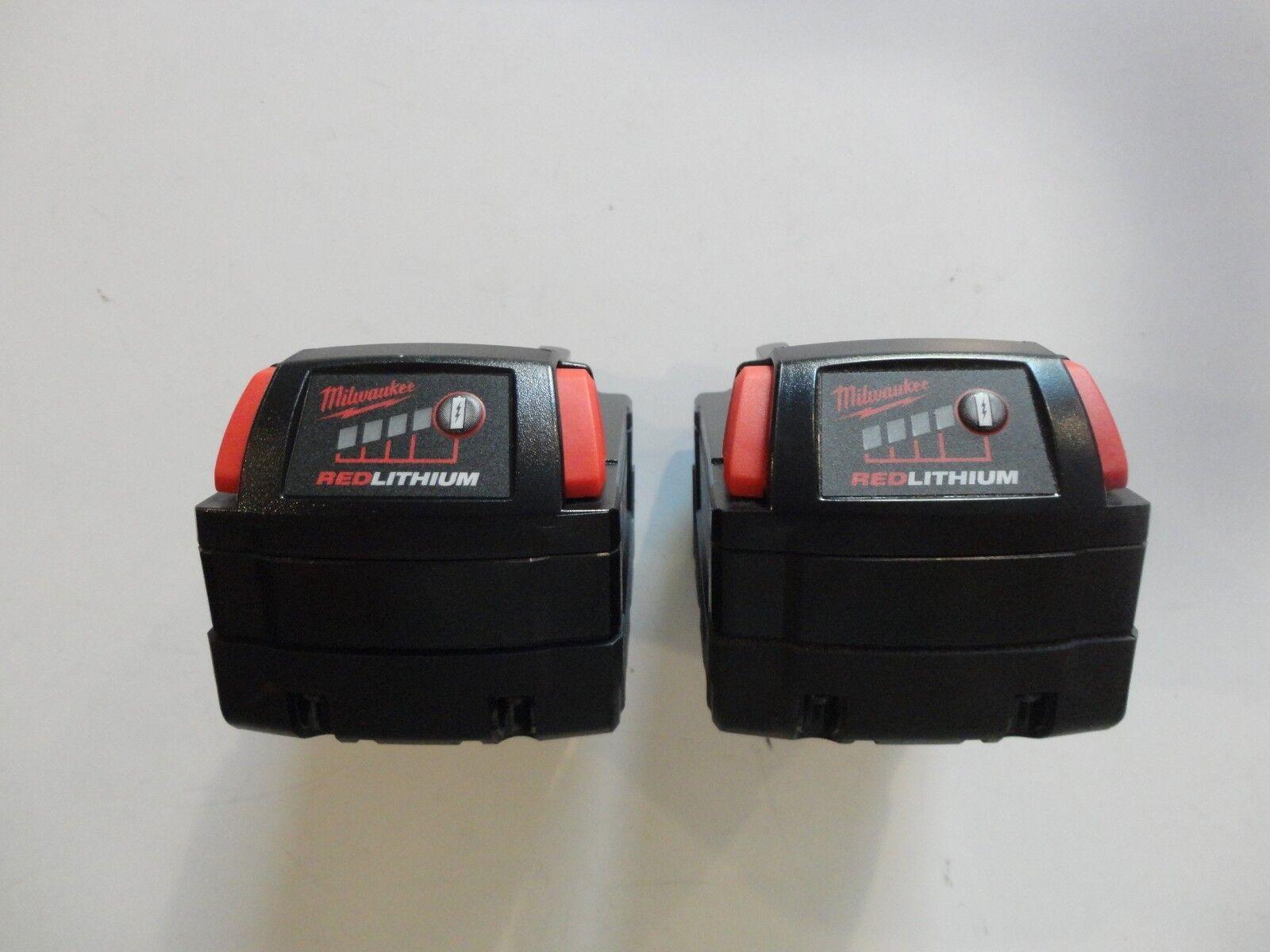 (2) MILWAUKEE 18V 18 Volt L i- Ion 48-11-1850 XC 5.0 AH Battery packs 48-11-1852 6