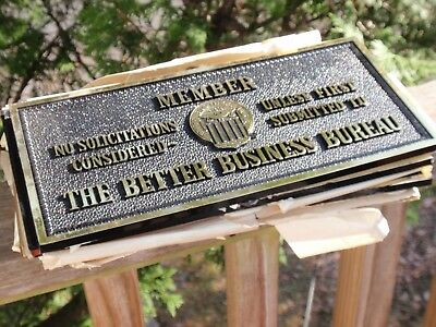 Lot Of 7 Vintage Bbb Better Business Signs Plastic 10.5 X 5 Inches